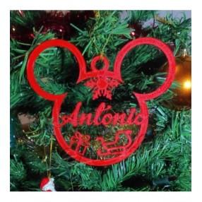 Adorno de navidad Mickey mouse con texto personalizable impreso en 3D